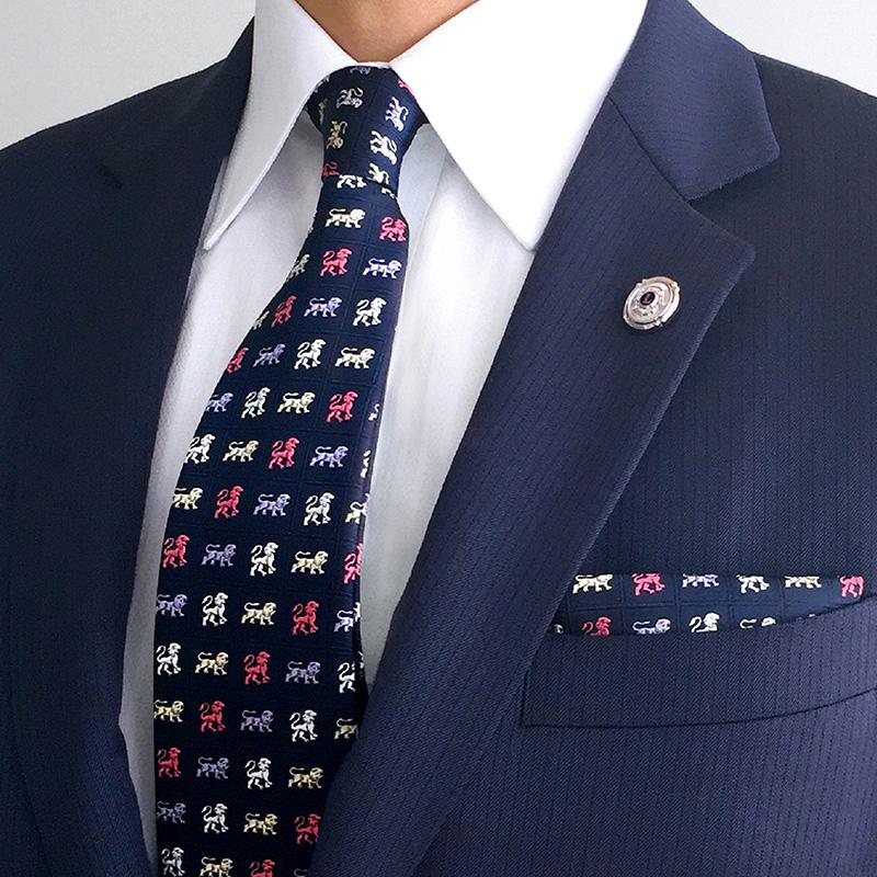 ネクタイ「獅子」多色織 紺×ピンク