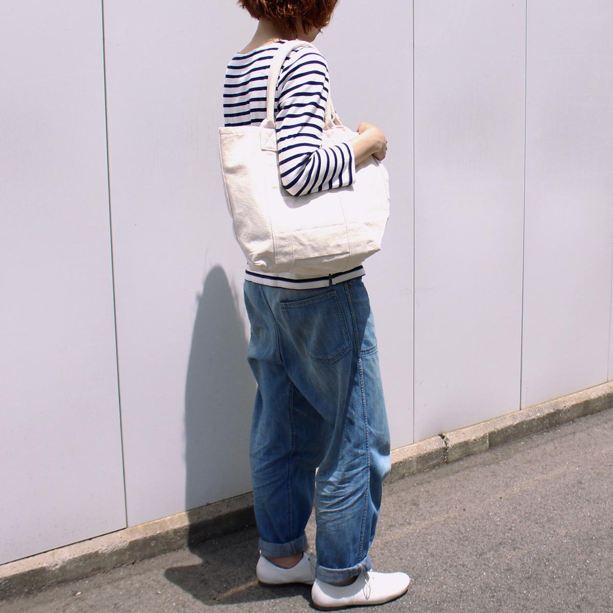 【MAKEUP】倉敷帆布 製品染め フロントポケット トート M 10カラー