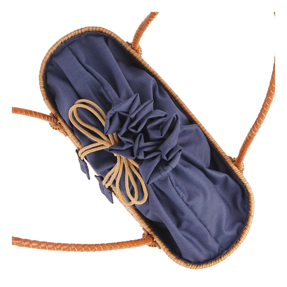 【30%OFF】【ATA BAG】 La Cute オリジナルテキスタイル かごトートバッグ スクエアタイプ LAAT002 (ネイビー)