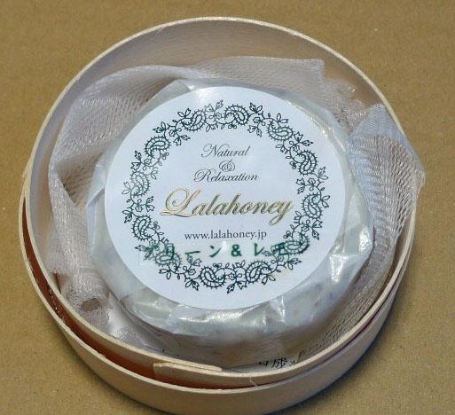 LALA HONEY グリーン&レモン石けん 80g(木製わっぱ入・泡立てネット付)