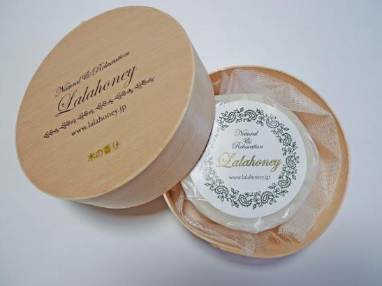 LALAHONEY 木の香り石けん 80g (木製わっぱ入・泡立てネット付)