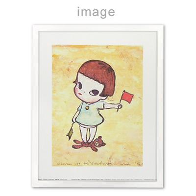 奈良美智 ポスター [勉強中・手旗信号少女] 専用木製フレーム