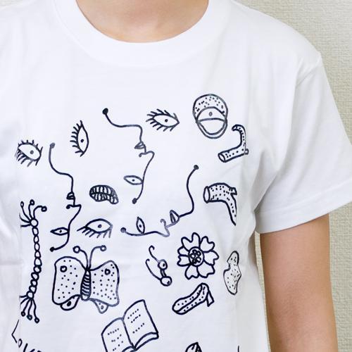 草間彌生  Tシャツ [わたし大好きD(ドローイング×ホワイト×ブラック)]