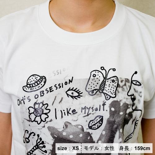 草間彌生  Tシャツ [わたし大好きB(フォト×ホワイト×ブラック)]