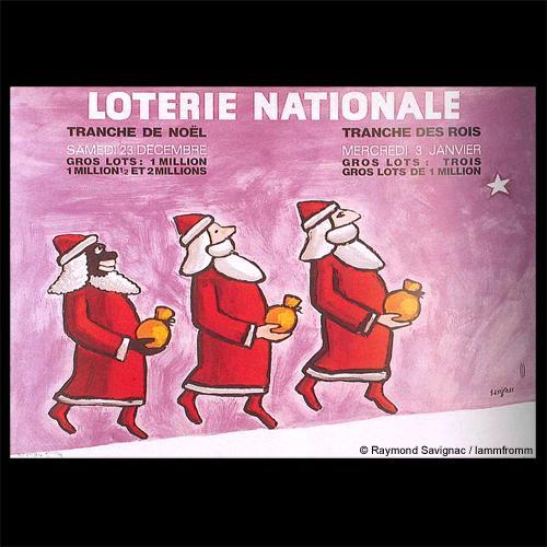 レイモン・サヴィニャック フレーム付 ヴィンテージポスター [Loterie nationale]