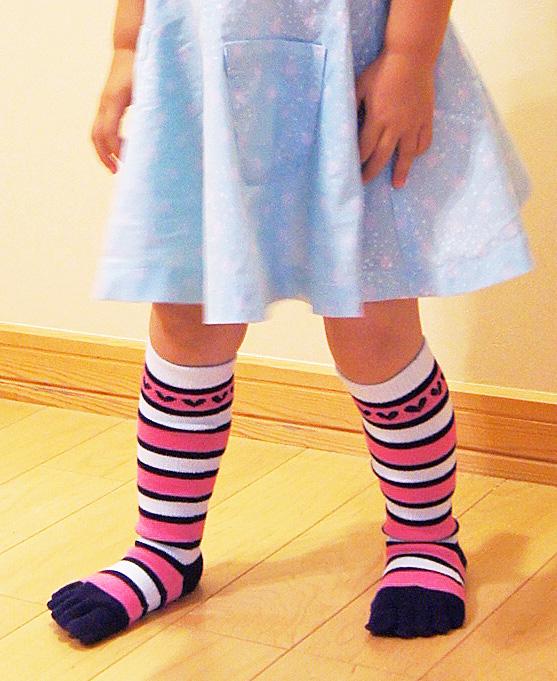 5本指ソックス(5本指靴下) ボーダーKIDSキッズハイソックス(16-18cm、19-21cm)【6100】