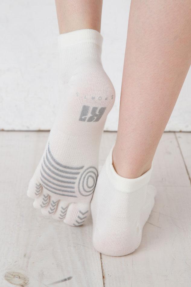 【6180】ランニング:スポーツ5本指ソックス(ショート丈・薄手・スベリ止め付)L