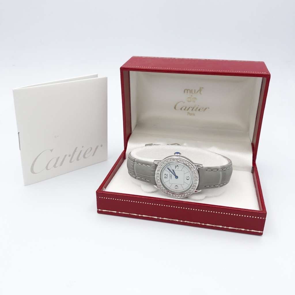 CARTIER / ロンド 飛びアラビア文字盤 SM シルバー ダイヤ