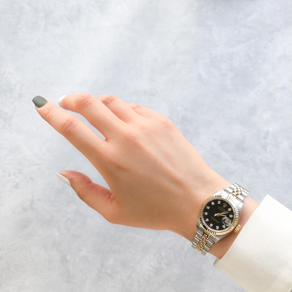 ROLEX / 10P ダイヤ コンビ 黒文字盤