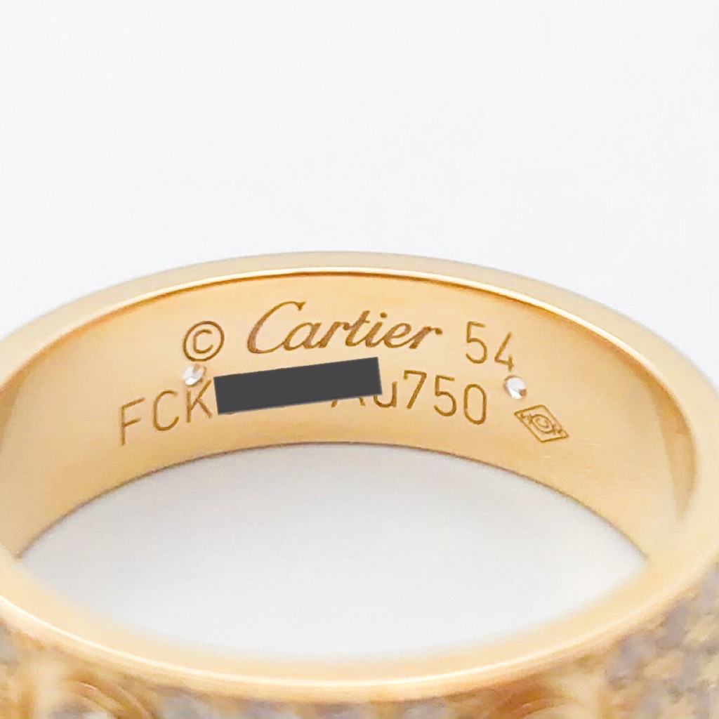 CARTIER / ラブリング 14号 YG フルパヴェ&6Pビス ダイヤ