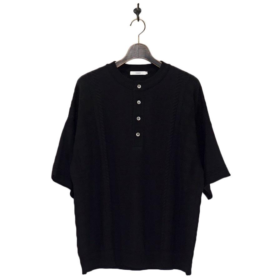YASHIKI(ヤシキ) | Komorebi Henley Knit (コモレビヘンリーニット) - BLACK
