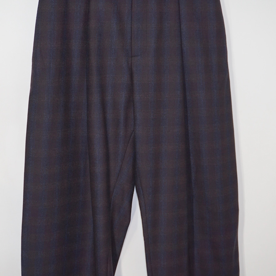 STUDIO NICHOLSON(スタジオニコルソン) | CHERI / WOOL PRINCE OF WALES STITCHED PLEATS VOLUME PANT (ボリュームパンツ) − BROWN BLUE