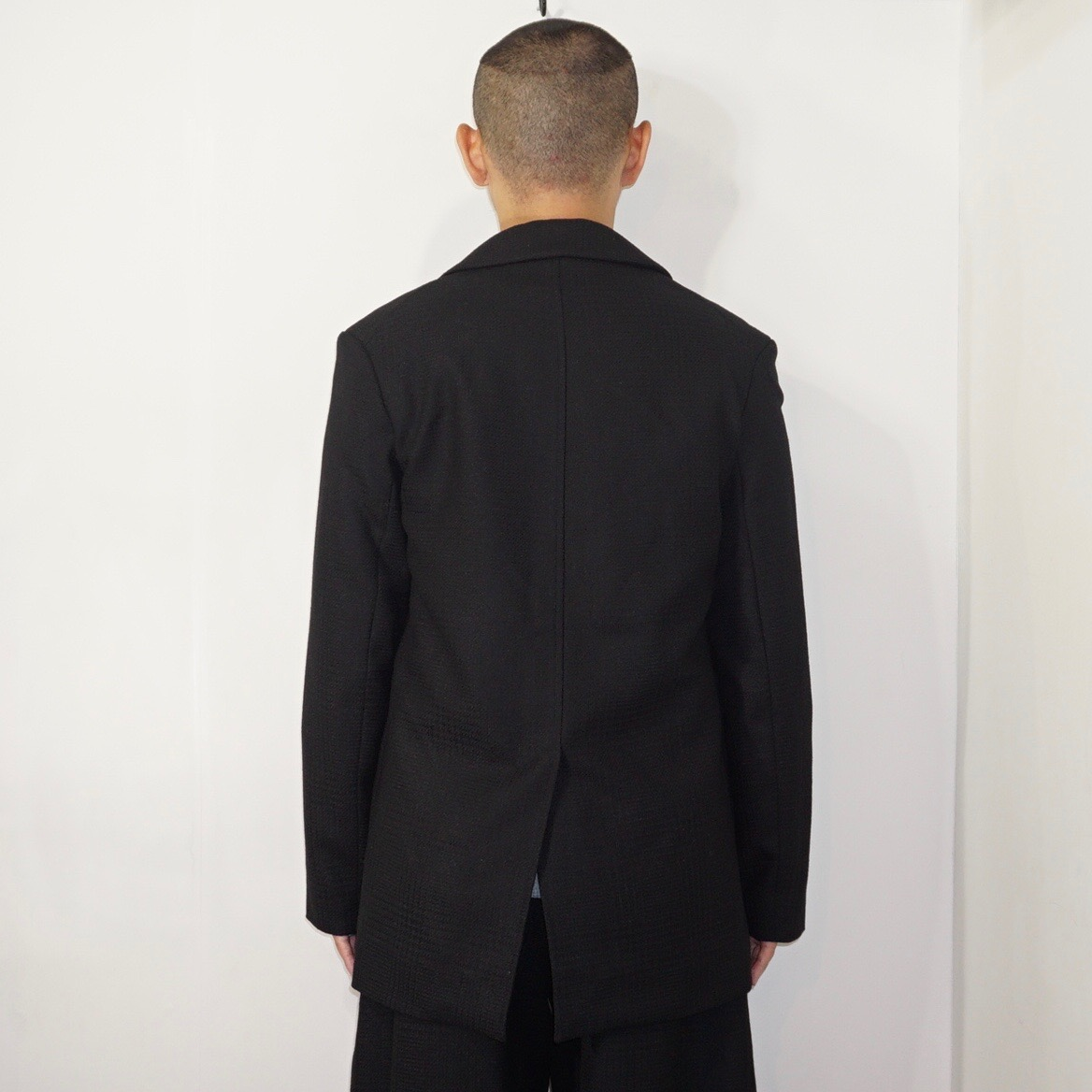 STUDIO NICHOLSON(スタジオニコルソン) | ZHANG / GHOST BLACKWATCH BLUFF POCKET WOOL JACKET(ゴーストブラックウオッチ ウールジャケット ) − BLACK
