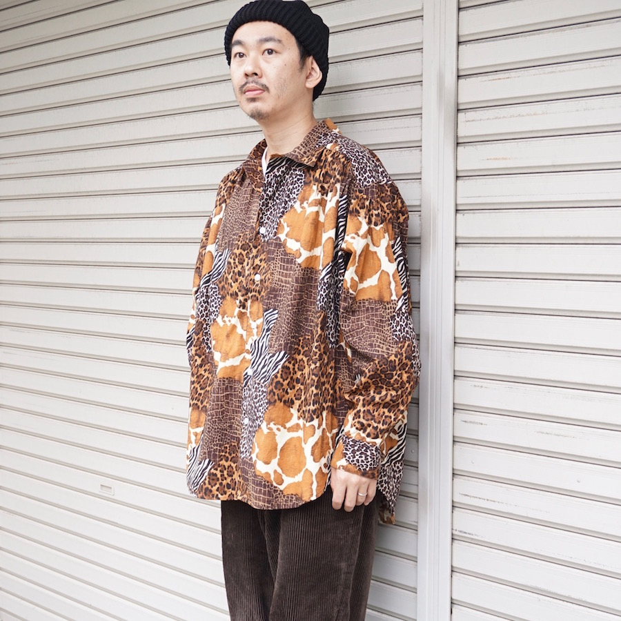 AiE(エーアイイー) | Painter Shirt - Animal Patchwork (ペインターシャツ - アニマルパッチワーク) - Brown Malti