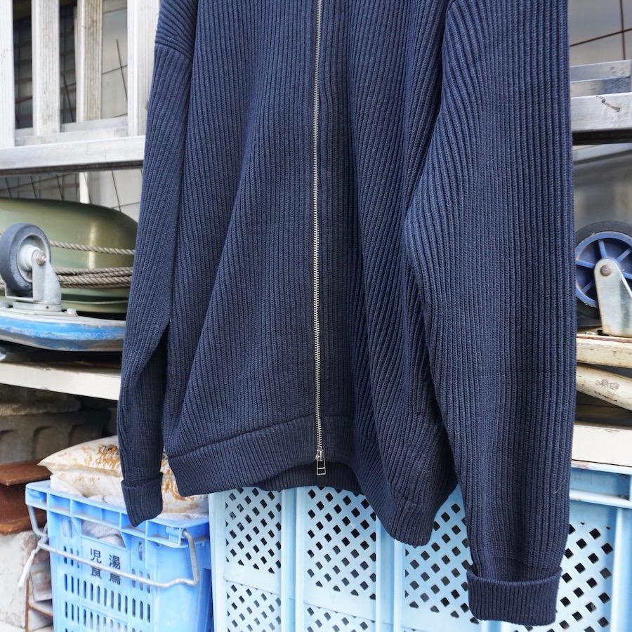 crepuscule(クレプスキュール) | rib stitch zip cardigan (リブスティッチジップカーディガン)-Black