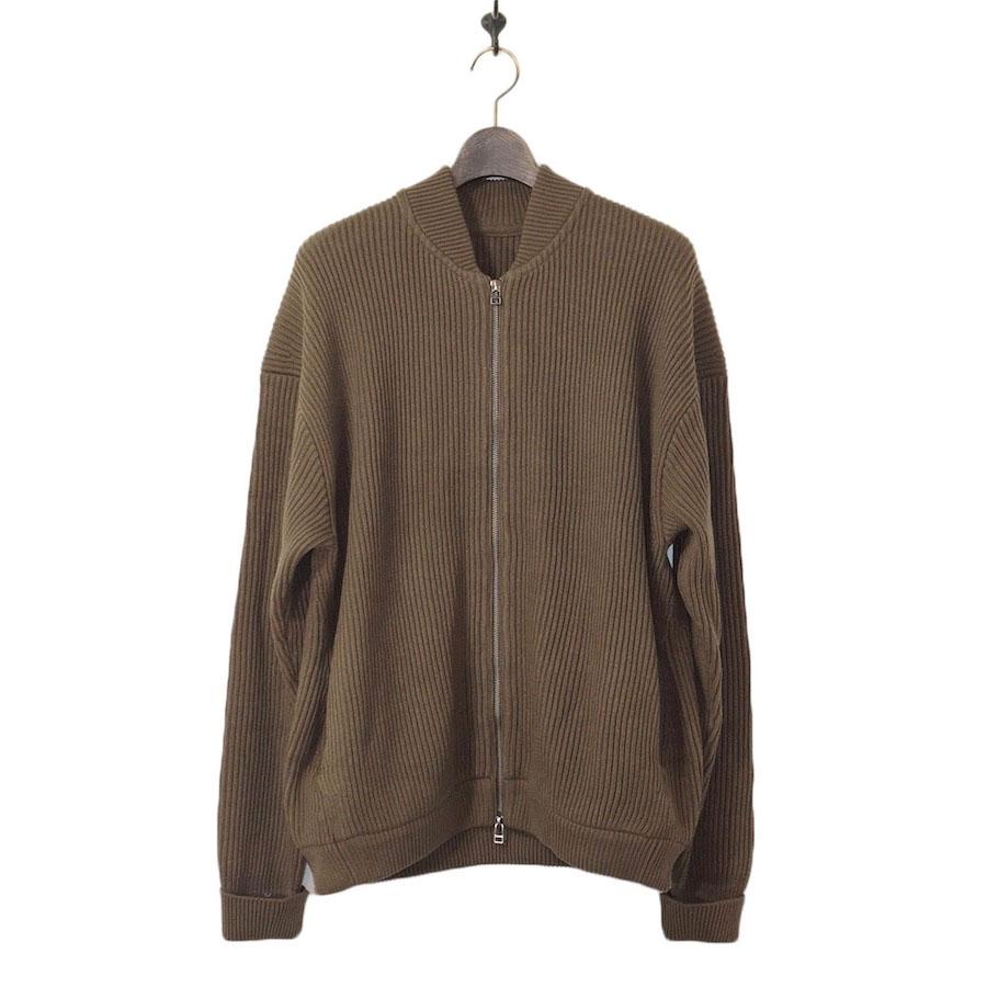 crepuscule(クレプスキュール) | rib stitch zip cardigan (リブスティッチジップカーディガン)-Khaki