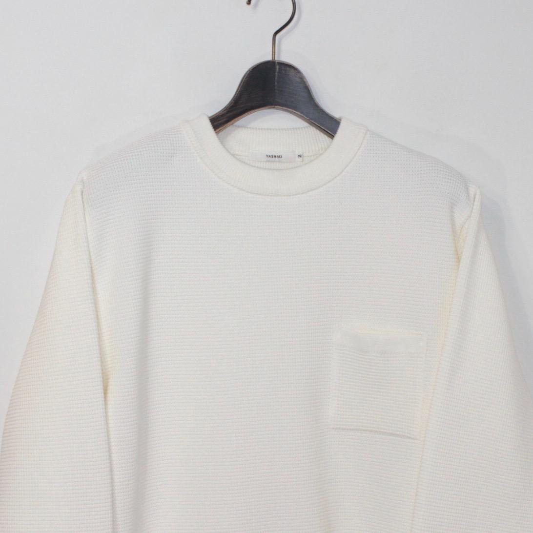 YASHIKI(ヤシキ) | Waffle Crew neck Knit (ワッフルクルーネックニット)−WHITE