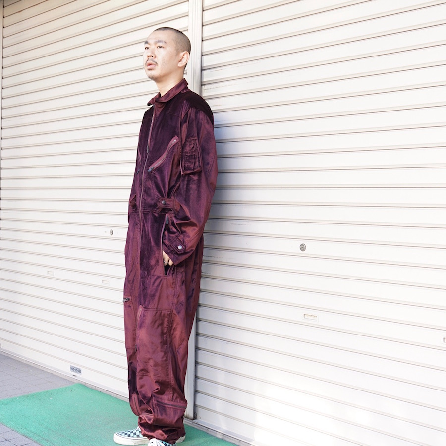 NEEDLES(ニードルズ) | Jump Suit - C/R Velvet(ジャンプスーツ - シーアールヴェルベット) - BORDEAUX
