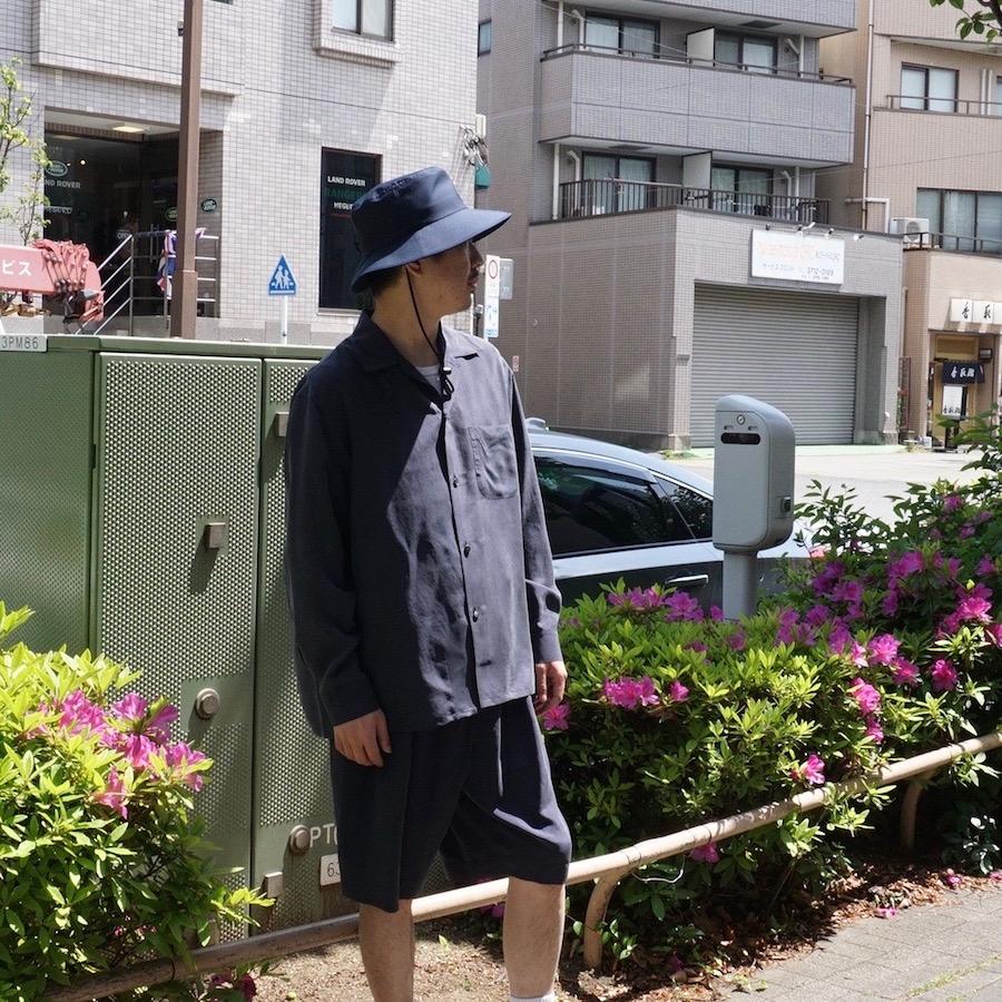URU(ウル) | 21SSSW02 / OPEN COLLAR L/S SHIRTS (オープンカラーロングスリーブシャツ) - NAVY