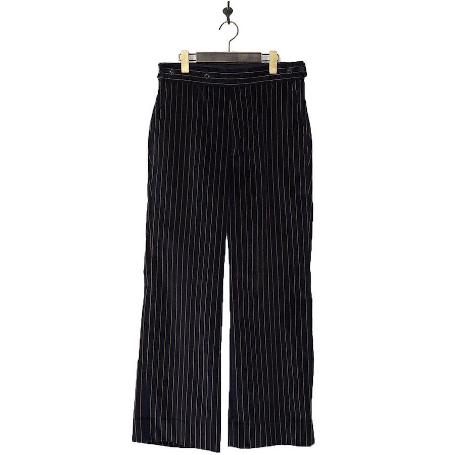 NEEDLES(ニードルズ) | Side Tab Trouser - Stripe Velveteen (サイドタブトラウザー-ストライプベロア) - Navy (Brown Stripe)