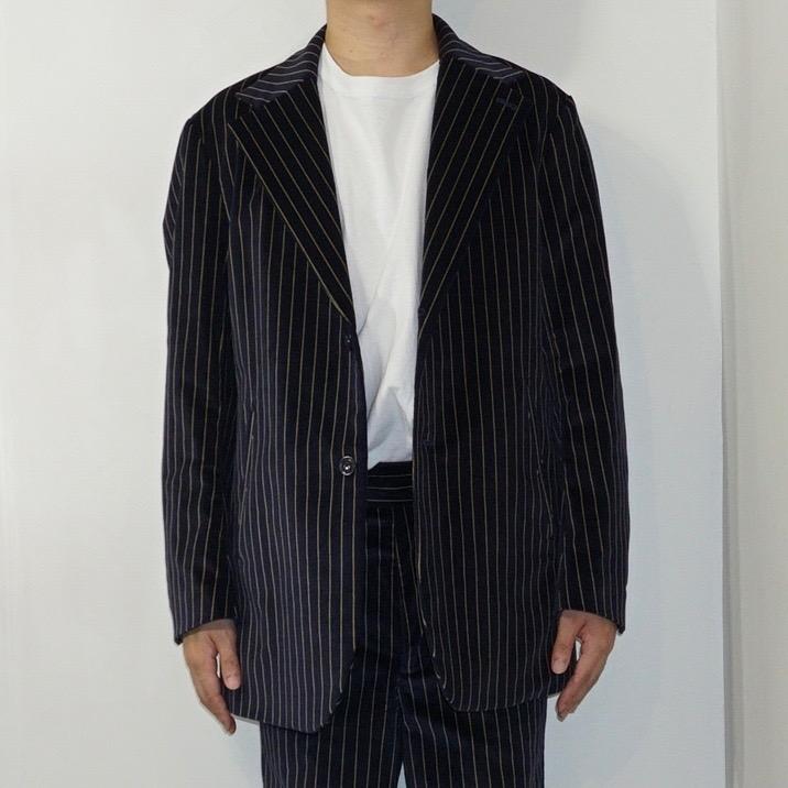 NEEDLES(ニードルズ)   2B Jacket -Stripe Velveteen ( 2B ジャケット-ストライプベロア) - Navy (Brown Stripe)