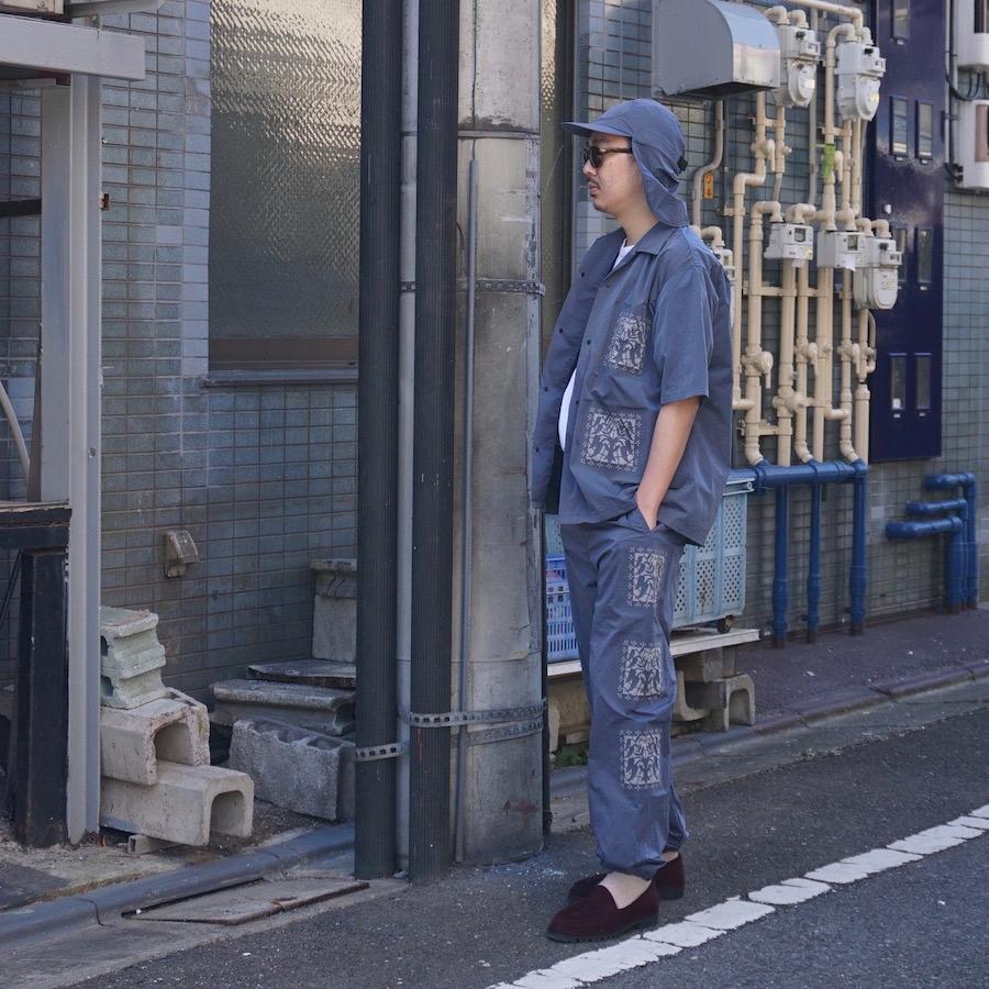 "Sasquatchfabrix.(サスクワァッチファブリックス)   "" KIRIGAMI "" H/S SHIRT ( "" KIRIGAMI ""ハーフスリーブシャツ) - BLUE GRAY"