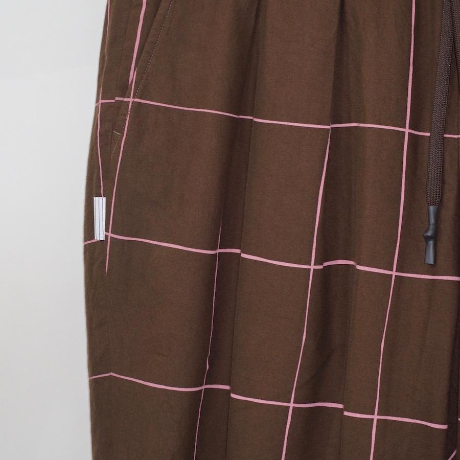STRIPES FOR CREATIVE / S.F.C (ストライプス フォー クリエイティブ) | WIDE PANTS (ワイドパンツ) - Chocolate / Pink Check