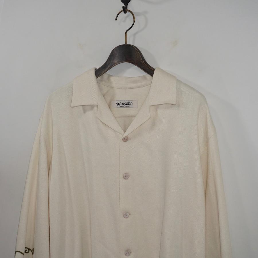 NANUA (ナヌーア)   thai scroll pattern silk noil shirts (タイ スクロールパターン シルクノイルシャツ) - green