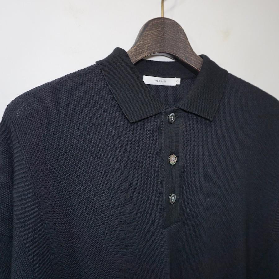 YASHIKI(ヤシキ)   Yuyake Knit Polo (ユウヤケニットポロ) - BLACK