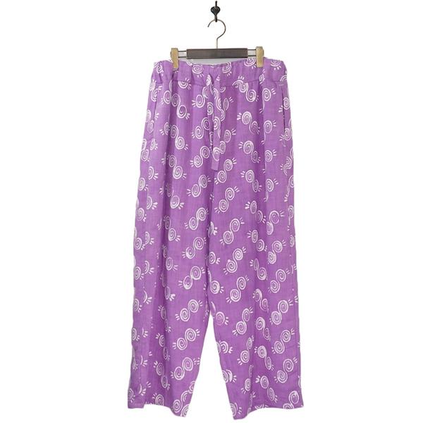 NANUA (ナヌーア) | circle pattern relax pants (サークルパターン リラックスパンツ) - HAND STAMP PURPLE BATIK