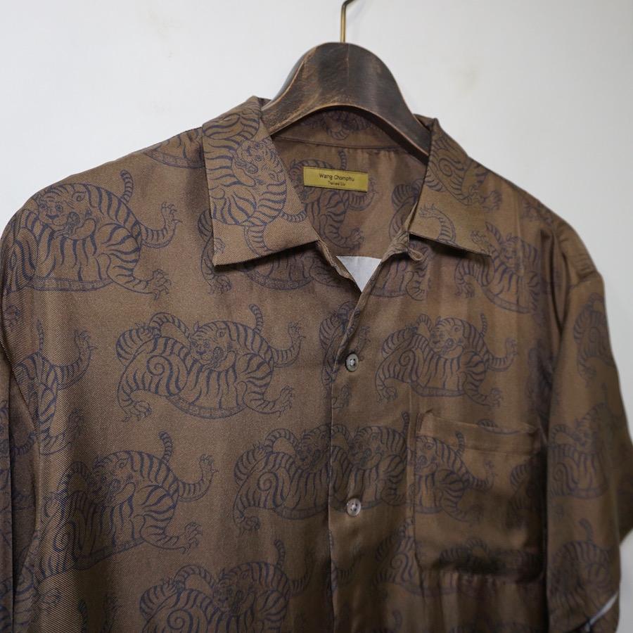 Wang Chomphu (ワンチョムプー) |OPEN COLLAR H/S SHIRT (オープンカラーハーフスリーブシャツ) - SIAM TIGER PATTERN