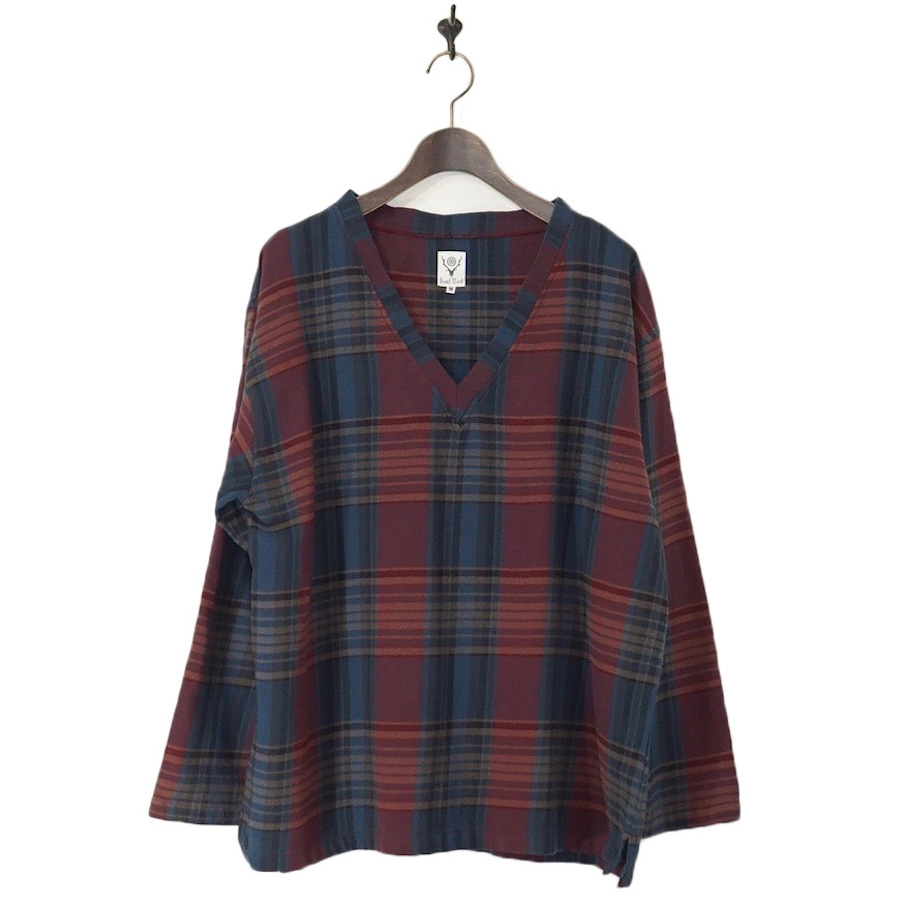 SOUTH2 WEST8 (サウスツーウエストエイト) | V Neck Shirt - Plaid Twill (Vネックシャツ) - Nvy / Red