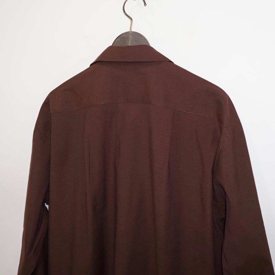 "Sasquatchfabrix.(サスクワァッチファブリックス) | "" CHICHIN-PUI-PUI "" OPEN COLLAR BIG SHIRT (""チチンプイプイ"" オープンカラービックシャツ) - DARK BROWN"