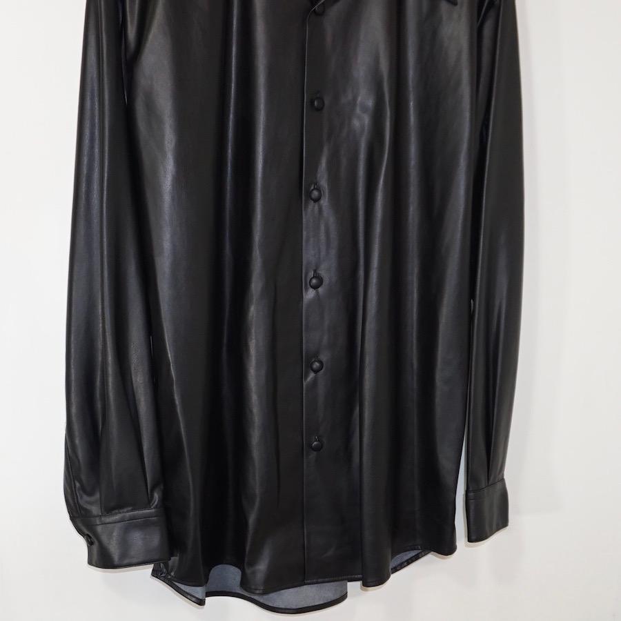 Sasquatchfabrix.(サスクワァッチファブリックス)   FAKE LEATHER OPEN COLLAR SHIRT (フェイクレザーオープンカラーシャツ) - BLACK