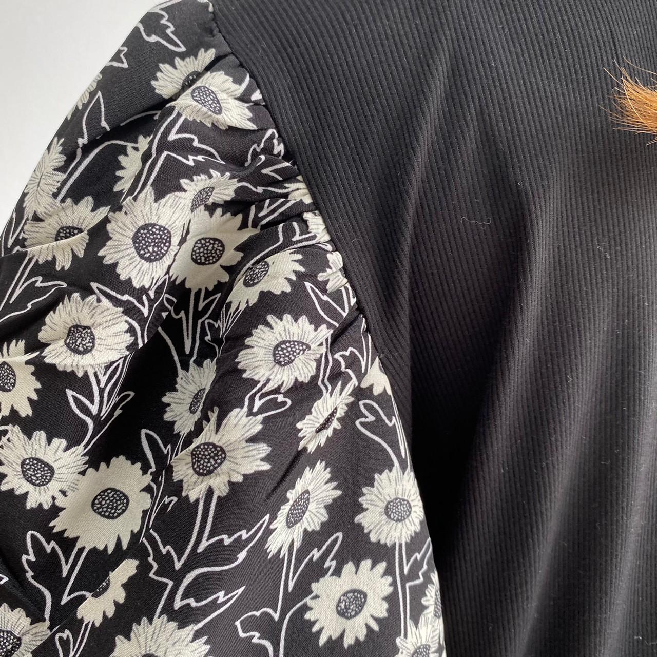 レディース B937 花柄バルーンスリーブ リブトップス