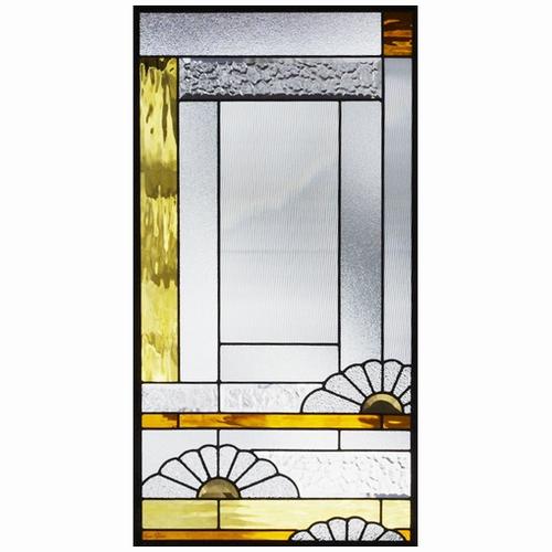 ステンドグラス (SH-A33) 一部鏡面ガラス 913×480×18mm デザイン 和風 ピュアグラス Aサイズ (約13kg) ※代引不可