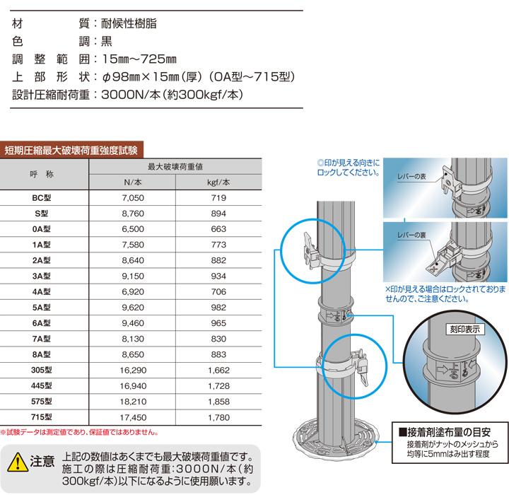 フクビ マルチポスト 715型(調整幅:433〜725mm)(MPST715)