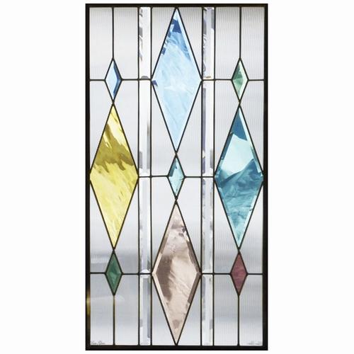 ステンドグラス (SH-A35) 913×480×18mm デザイン 幾何学 ピュアグラス Aサイズ (約13kg) メーカー在庫限り ※代引不可