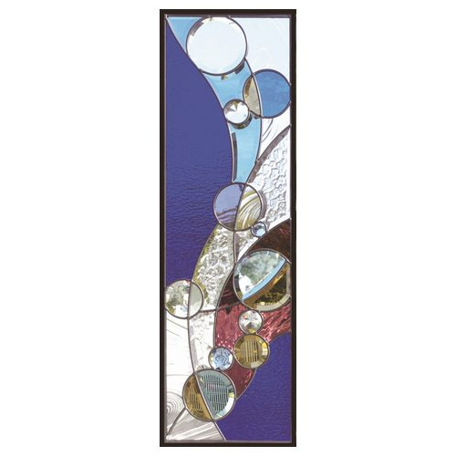 ステンドグラス 一部鏡面ガラス (SH-C33) 927×289×18mm デザイン ピュアグラス Cサイズ (約8kg) ※代引不可