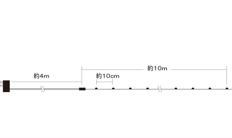 イルミネーション 室内用 LEDジュエリーライト100球 白 (JE100W) アダプター式 10m