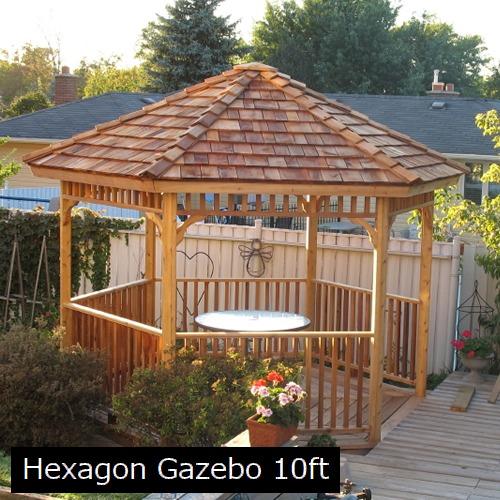 ガゼボ シダーシェッド社 Hexagon 6角形 (10feet) 約7.7平米 ※要荷降ろし手伝い