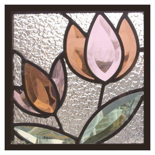 ステンドグラス 一部鏡面ガラス (SH-D38) 200×200×18mm デザイン 花 ピュアグラス Dサイズ (約1kg) ※代引不可