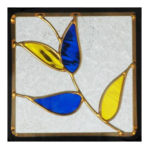 ステンドグラス (SH-D15) 200×200×18mm デザイン ピュアグラス Dサイズ (約1kg) ※代引不可 メーカー在庫限り