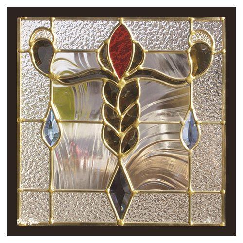 ステンドグラス 一部鏡面ガラス (SH-E13) 300×300×18mm デザイン アンティーク ピュアグラス Eサイズ (約3kg) ※代引不可