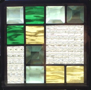 ステンドグラス (SH-D08) 一部鏡面ガラス 200×200×18mm デザイン ピュアグラス Dサイズ (約1kg) ※代引不可