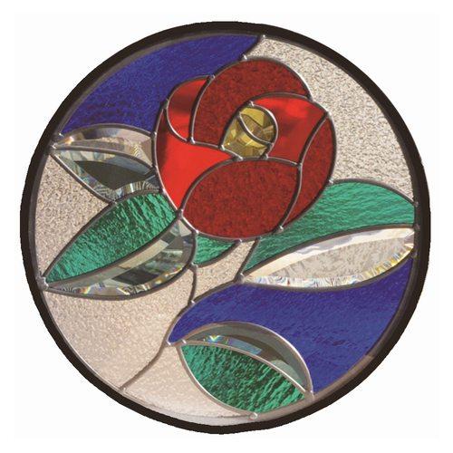 ステンドグラス 一部鏡面ガラス (SH-K14) 400×400×18mm 円形 花 椿 和柄 ピュアグラス Kサイズ (約4kg) ※代引不可