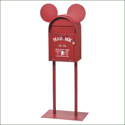 スタンドポスト 郵便ポスト 『ヴィンテージミッキー(レッド)』 (SD-6141-RD-3800) メールボックス ディズニー