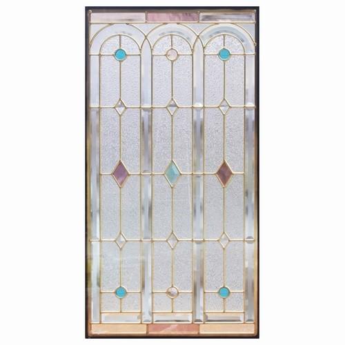 ステンドグラス (SH-A06N) 913×480×18mm デザイン 窓 アーチ ピュアグラス Aサイズ (約13kg) ※代引不可
