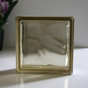 ガラスブロック 190×190×80mm カラー:ブラウンクラウディ 単品 aks-46584