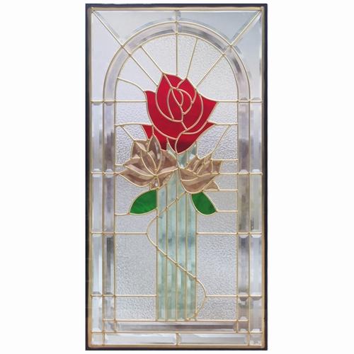 ステンドグラス (SH-A21N) 一部鏡面ガラス 913×480×18mm デザイン 薔薇 ローズ ピュアグラス Aサイズ (約13kg) ※代引不可